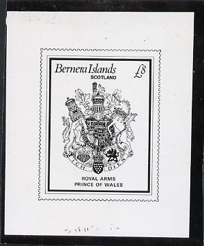 Bernera 1982 Royal Arms \A38 - B&W bromide proof of yssued design as Rosen SF 1030