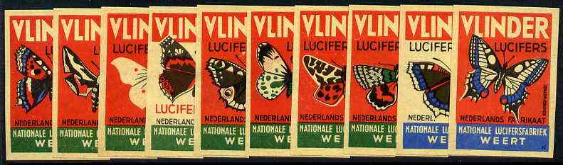 Match Box Labels - complete set of 10 Butterflies, superb unused condition (Dutch Vlinder series)