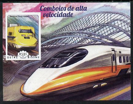 Guinea - Bissau 2014 High Speed Trains #2 imperf deluxe sheet unmounted mint. Note this item is privately produced and is offered purely on its thematic appeal, stamps on railways