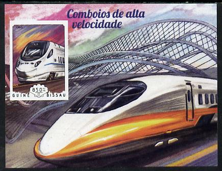 Guinea - Bissau 2014 High Speed Trains #3 imperf deluxe sheet unmounted mint. Note this item is privately produced and is offered purely on its thematic appeal