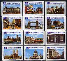 Match Box Labels - complete set of 12 Views of London, superb unused condition (News Kiosks Ltd)