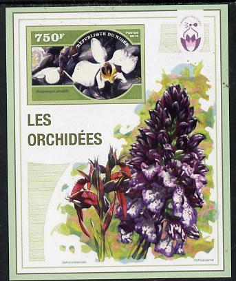 Niger Republic 2014 Orchids #1 imperf s/sheet unmounted mint. Note this item is privately produced and is offered purely on its thematic appeal