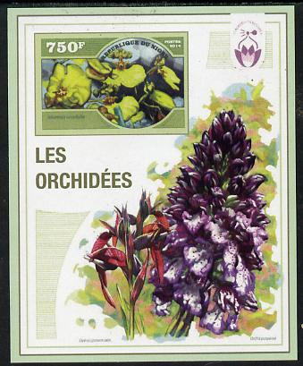 Niger Republic 2014 Orchids #3 imperf s/sheet unmounted mint. Note this item is privately produced and is offered purely on its thematic appeal