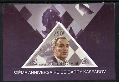 Togo 2013 50th Birthday of Garry Kasparov #1 imperf s/sheet containing triangular value unmounted mint. Note this item is privately produced and is offered purely on its thematic appeal