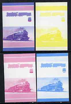 St Vincent - Union Island 75c Locomotive CR Class C 4-6-0 set of 4 imperf se-tenant proof pairs printed in magenta, blue, yellow and magenta & blue composite unmounted mint