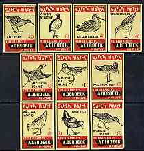 Match Box Labels - complete set of 10 Birds, superb unused condition (De Roeck of Belgium)