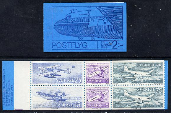 Booklet - Sweden 1972 Swedish Mailplanes 2k booklet complete and fine, SG SB 275
