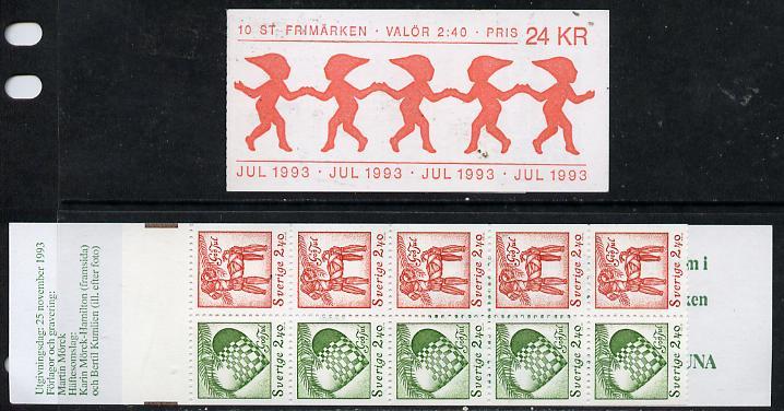 Booklet - Sweden 1993 Christmas 24k booklet complete and fine, SG SB 464