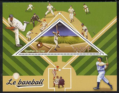 Congo 2015 Baseball perf deluxe sheet containing one triangular value unmounted mint