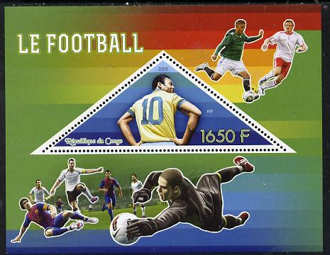 Congo 2015 Football perf deluxe sheet containing one triangular value unmounted mint