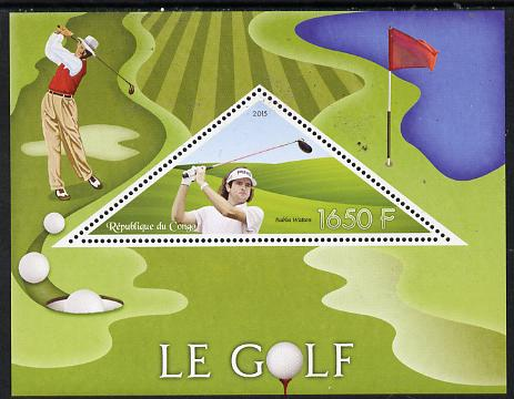 Congo 2015 Golf perf deluxe sheet containing one triangular value unmounted mint