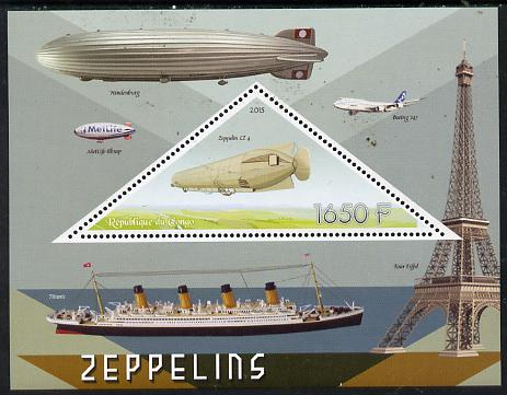 Congo 2015 Zeppelins perf deluxe sheet containing one triangular value unmounted mint