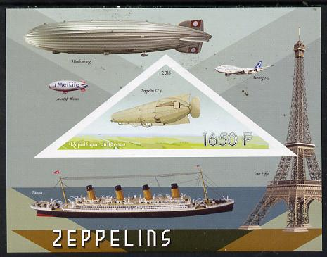 Congo 2015 Zeppelins imperf deluxe sheet containing one triangular value unmounted mint