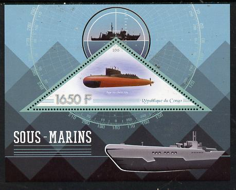 Congo 2015 Submarines perf deluxe sheet containing one triangular value unmounted mint