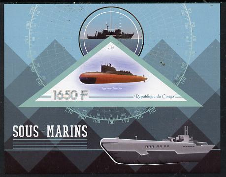 Congo 2015 Submarines imperf deluxe sheet containing one triangular value unmounted mint