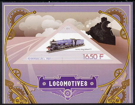 Congo 2015 Steam Locomotives imperf deluxe sheet containing one triangular value unmounted mint