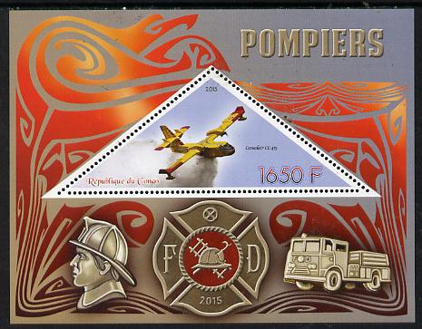 Congo 2015 Fire Services perf deluxe sheet containing one triangular value unmounted mint