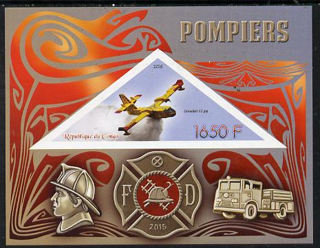 Congo 2015 Fire Services imperf deluxe sheet containing one triangular value unmounted mint