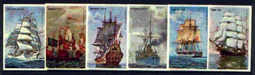 Match Box Labels - complete set of 6 Ancient Ships, superb unused condition (Danish), stamps on ships