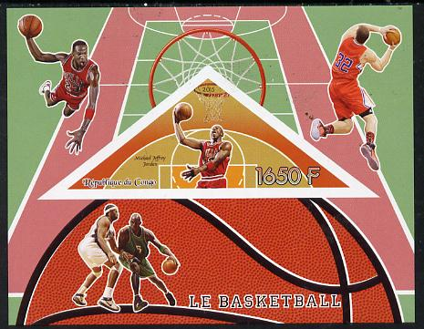 Congo 2015 Basketball imperf deluxe sheet containing one triangular value unmounted mint