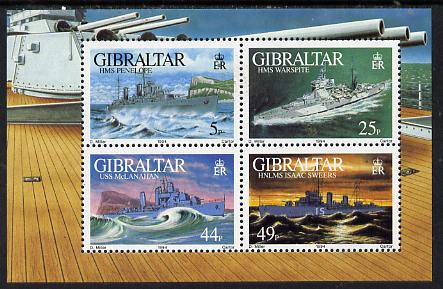 Gibraltar 1994 Warships of Second World War #2 perf m/sheet containing set of 4 unmounted mint, SG MS 724