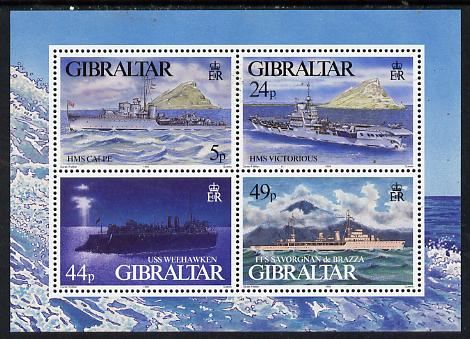 Gibraltar 1995 Warships of Second World War #3 perf m/sheet containing set of 4 unmounted mint, SG MS 748