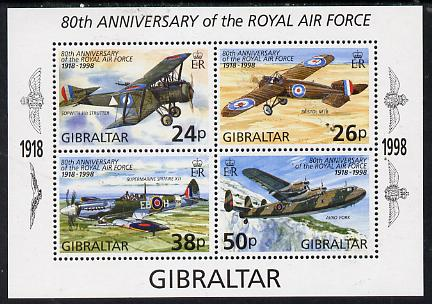 Gibraltar 1998 80th Anniversary of Royal Air Force perf m/sheet containing 4 values unmounted mint, SG MS 833