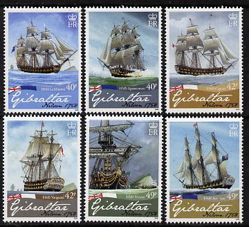 Gibraltar 2008 250th Birth Anniversary of Admiral Lord Nelson set of 6 values unmounted mint, SG 1268-73