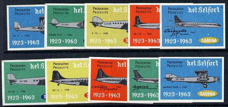 Match Box Labels - complete set of 10 Sabena Airlines, superb unused condition