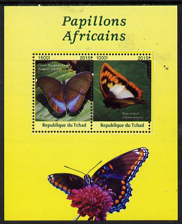 Chad 2015 African Butterflies #2 (yellow background) perf sheetlet containing 2 values unmounted mint. Note this item is privately produced and is offered purely on its thematic appeal. .