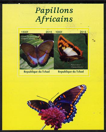 Chad 2015 African Butterflies #2 (yellow background) imperf sheetlet containing 2 values unmounted mint. Note this item is privately produced and is offered purely on its thematic appeal. .