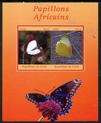 Chad 2015 African Butterflies #3 (orange background) perf sheetlet containing 2 values unmounted mint. Note this item is privately produced and is offered purely on its thematic appeal. .
