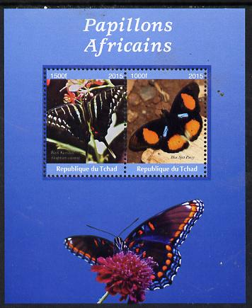 Chad 2015 African Butterflies #5 (blue background) perf sheetlet containing 2 values unmounted mint. Note this item is privately produced and is offered purely on its thematic appeal. .