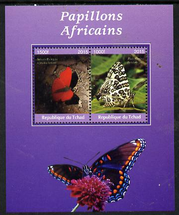 Chad 2015 African Butterflies #6 (purple background) perf sheetlet containing 2 values unmounted mint. Note this item is privately produced and is offered purely on its thematic appeal. .