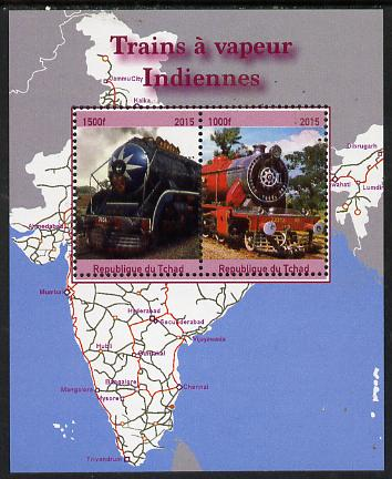 Chad 2015 Steam Locos of India perf sheetlet containing 2 values unmounted mint. Note this item is privately produced and is offered purely on its thematic appeal. .