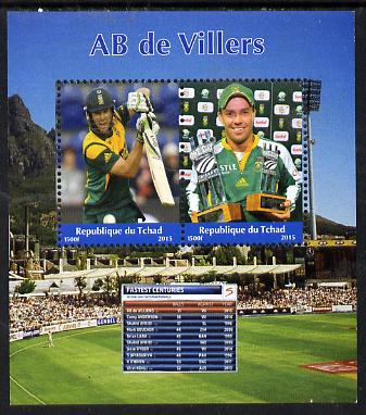Chad 2015 AB de Villers (cricketer) perf sheetlet containing 2 values unmounted mint. Note this item is privately produced and is offered purely on its thematic appeal. .