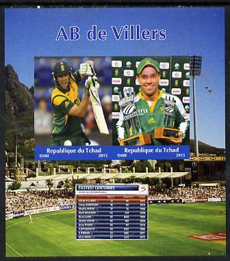 Chad 2015 AB de Villers (cricketer) imperf sheetlet containing 2 values unmounted mint. Note this item is privately produced and is offered purely on its thematic appeal. .