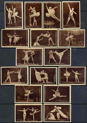 Match Box Labels - complete set of 16 Ballet (sepia background), superb unused condition (Russian)