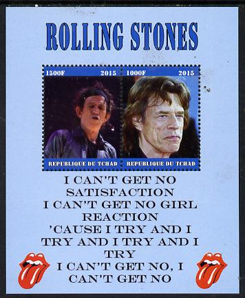 Chad 2015 The Rolling Stones #1 perf sheetlet containing 2 values unmounted mint. Note this item is privately produced and is offered purely on its thematic appeal. .