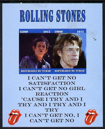 Chad 2015 The Rolling Stones #1 imperf sheetlet containing 2 values unmounted mint. Note this item is privately produced and is offered purely on its thematic appeal. .
