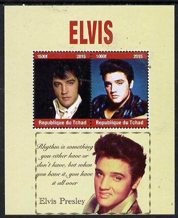 Chad 2015 Elvis Presley perf sheetlet containing 2 values unmounted mint. Note this item is privately produced and is offered purely on its thematic appeal. .