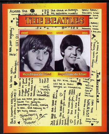 Chad 2015 The Beatles #1 imperf sheetlet containing 2 values unmounted mint. Note this item is privately produced and is offered purely on its thematic appeal. .