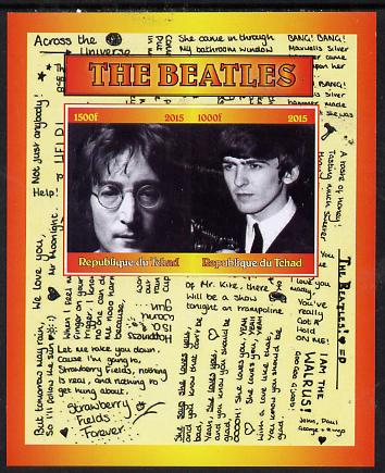 Chad 2015 The Beatles #2 imperf sheetlet containing 2 values unmounted mint. Note this item is privately produced and is offered purely on its thematic appeal. .
