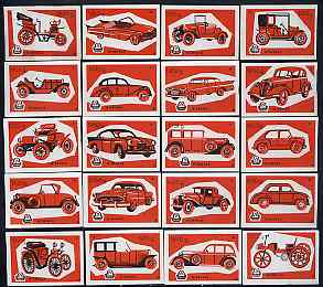 Match Box Labels - complete set of 20 Cars (red on white) superb unused condition (Yugoslavian Drava series)