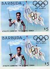 Barbuda 1984 Olympic Games $5 (Flag & Torch) imperforate pair unmounted mint, as SG 733