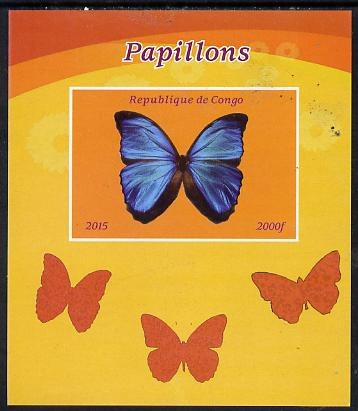 Congo 2015 Butterflies #1 imperf deluxe sheet unmounted mint. Note this item is privately produced and is offered purely on its thematic appeal