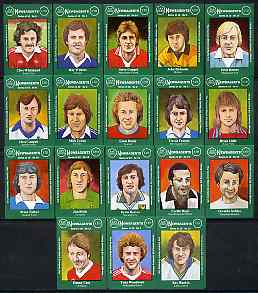 Match Box Labels - complete set of 18 Footballers, superb unused condition (Jay Dee Series)