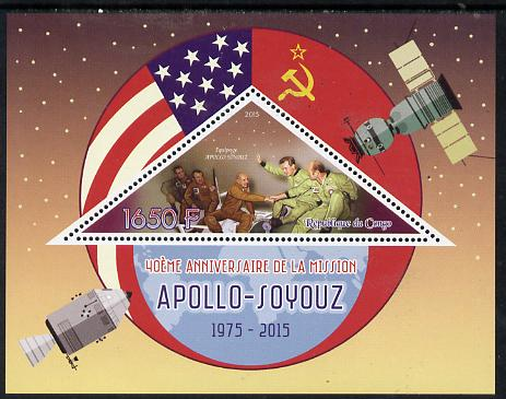 Congo 2015 40th Anniversary of Apollo-Soyuz Link-up perf deluxe sheet containing one triangular value unmounted mint