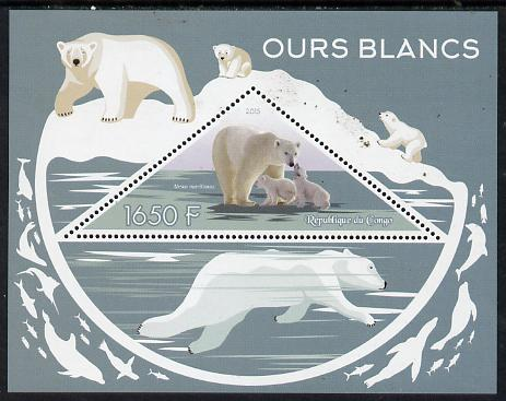 Congo 2015 Polar Bears perf deluxe sheet containing one triangular value unmounted mint