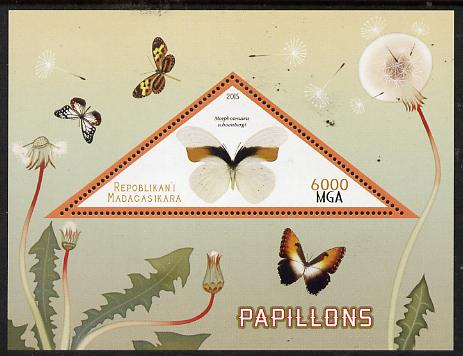 Madagascar 2015 Butterflies #1 perf deluxe sheet containing one triangular value unmounted mint